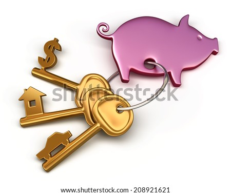 Piggy bank - keychain and different keys. Key to the house, car and money. Conceptual finance illustration - stock photo