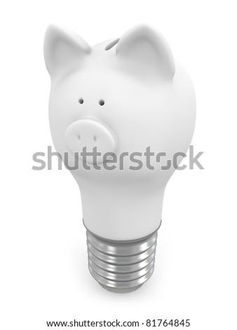 Piggy bank light bulb - stock photo