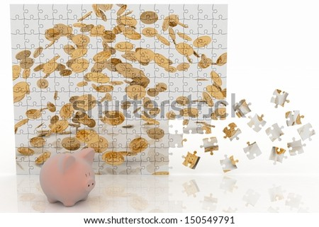 Piggy bank looking at the picture of the puzzle with falling coins. 3d illustration on white background. - stock photo