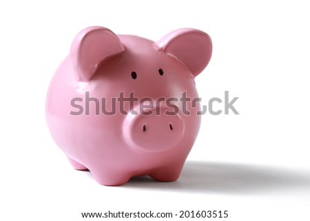 Piggy bank money box isolated on a white background. - stock photo