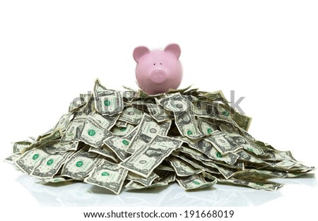 piggy bank on a pile of cash - stock photo