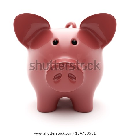piggy bank on a white background the front view