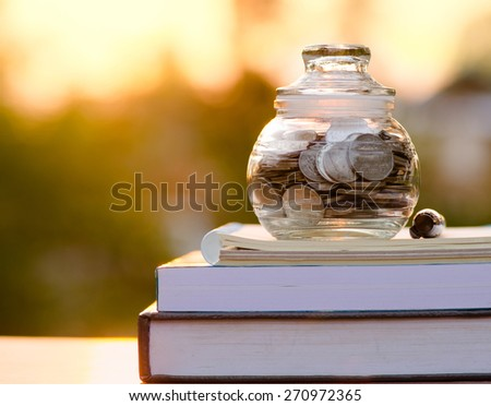 piggy bank on book with sunlight, Saving for education fund concept - stock photo