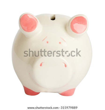 Piggy bank on isolated white background, close up view