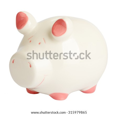 Piggy bank on isolated white background, side view