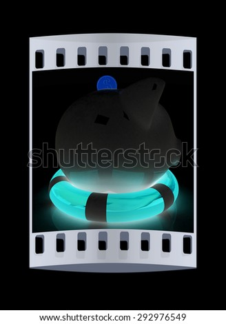 piggy bank on lifebuoy on black background. The film strip - stock photo