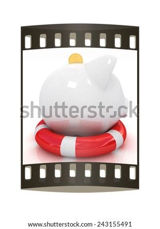 piggy bank on lifebuoy on white background. The film strip - stock photo