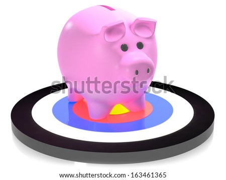 Piggy bank on target concept of financial forecast