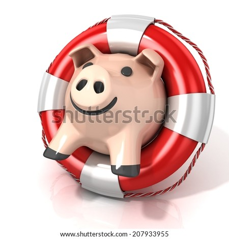 Piggy bank on the lifebelt, 3d illustration isolated on white background - stock photo