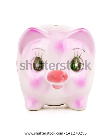 Piggy bank on white - stock photo