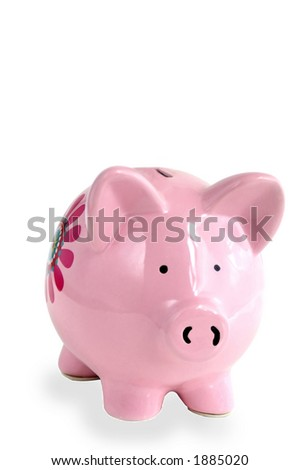 Piggy bank on white - stock photo