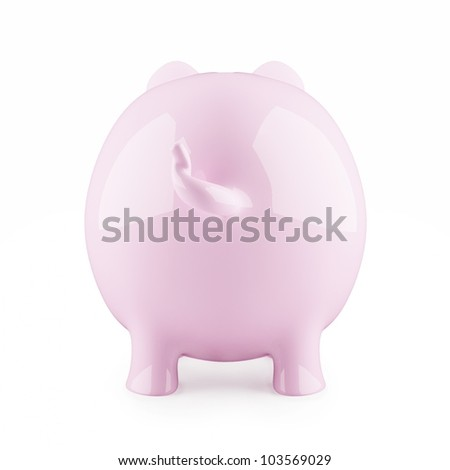 Piggy bank on white backgound from behind