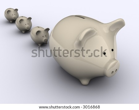 Piggy bank on white background - 3d render