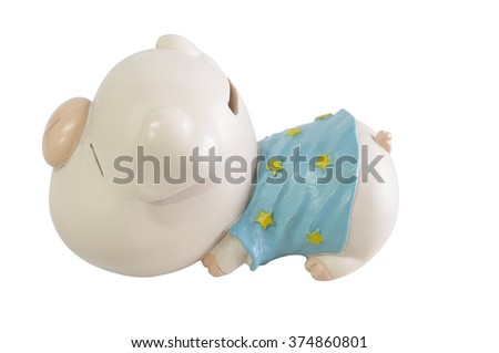 Piggy bank on white background isolate clipping path,side view - stock photo