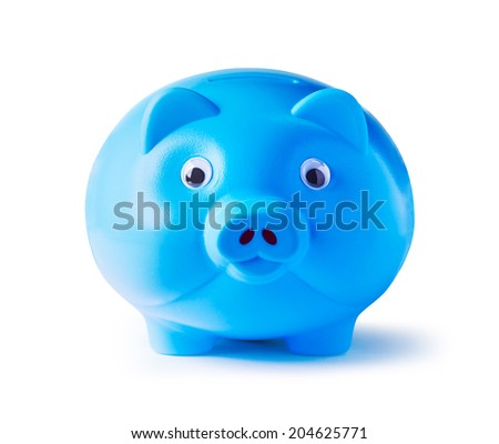 Piggy bank on white background with clipping path - stock photo