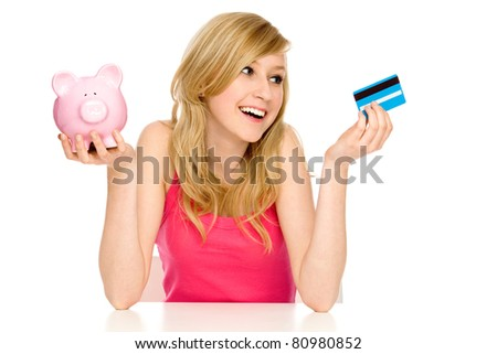 Piggy bank or credit card - stock photo