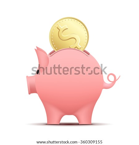 Piggy bank pig with a coin. Stock illustration.