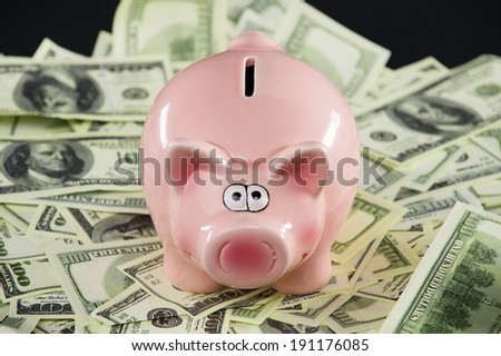 Piggy bank. Piggy bank with dollars banknotes - stock photo