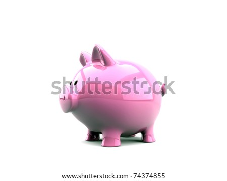piggy bank pink isolated on white background - stock photo