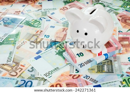 Piggy bank placed on Euro banknotes. Concept for cut in interest rates, euro crisis and saving - stock photo