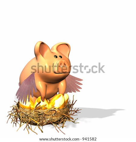 Piggy bank protecting your nest eggs and future. - stock photo