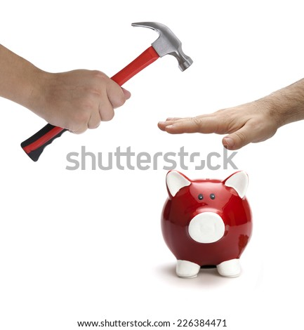 Piggy bank protection on the white background. Financial protection concept - stock photo
