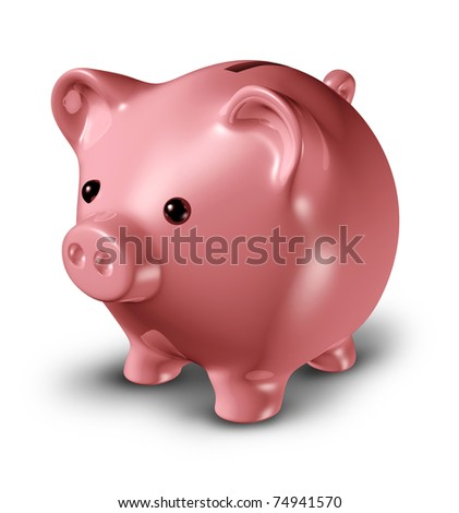 Piggy bank representing savings and frugality related to credit issues and investments isolated on white.