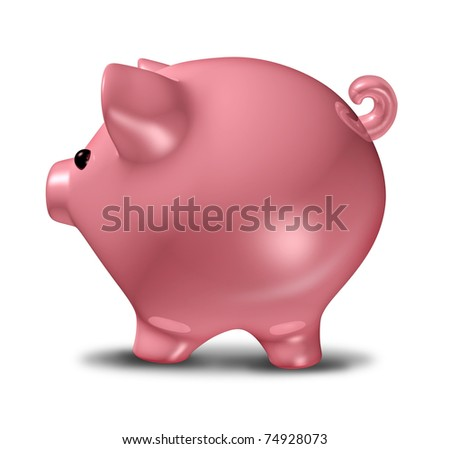 Piggy bank savings symbol representing the concept of banking and investing. - stock photo