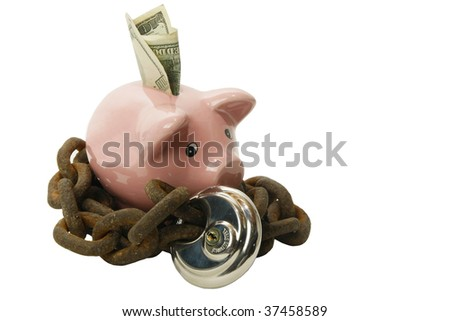 Piggy bank secured with lock and chain - stock photo