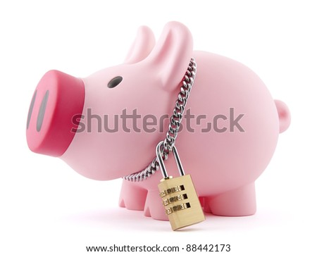 Piggy bank secured with padlock and chain. Clipping path included. - stock photo
