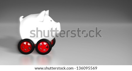 Piggy bank - speed pig (white piggy bank on red wheels) - stock photo