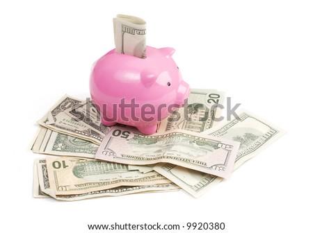 piggy bank standing on dollar bills - stock photo