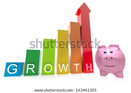 Piggy bank stood next to growth chart isolated on a white background - stock photo