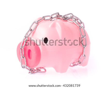 Piggy bank style money box chained together isolated on white background, concept financial stability - stock photo