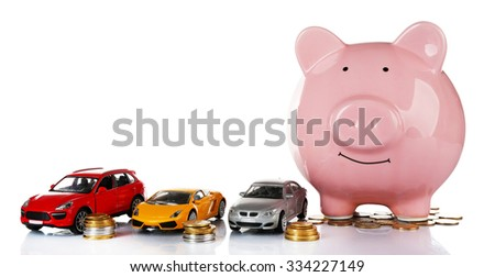 Piggy bank style money box isolated on a white - stock photo
