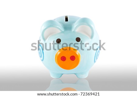 Piggy bank style money box isolated on a white
