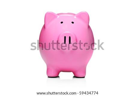Piggy bank style money box isolated on white background - stock photo