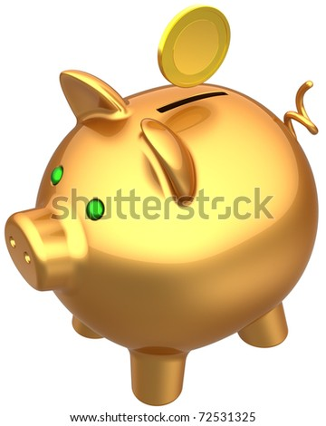 Piggy bank total golden with a coin over it. Savings wealth bank concept. This is a detailed three-dimensional render 3d (Hi-Res). Isolated on white background