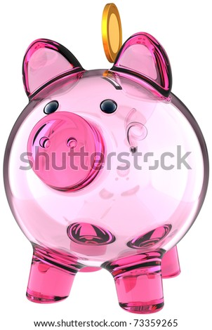 Piggy bank. Transparent glass money box colored pink with a golden coin over it. Business donate banking savings concept. This is a detailed three-dimensional render 3d. Isolated on white background - stock photo