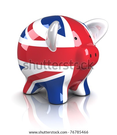 Piggy Bank - UK (Isolated) - stock photo