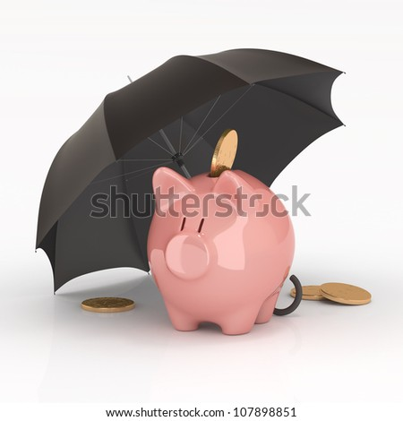 Piggy bank under umbrella. Protection of savings.