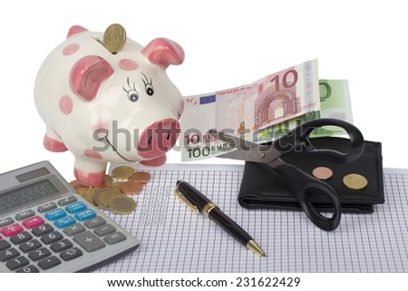Piggy bank, wallet with euro coins and banknotes cut by scissors, black calculator and pen on paper with financial calculations and white background - stock photo
