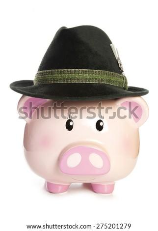 piggy bank wearing bavarian hat cutout - stock photo