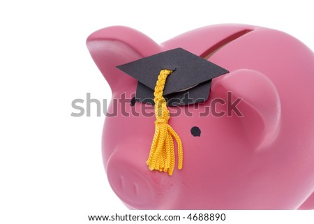 Piggy bank with a graduation cap isolated on white background - stock photo