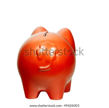 Piggy-bank with a shamrock - stock photo