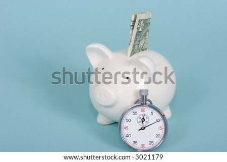 Piggy bank with a stop watch