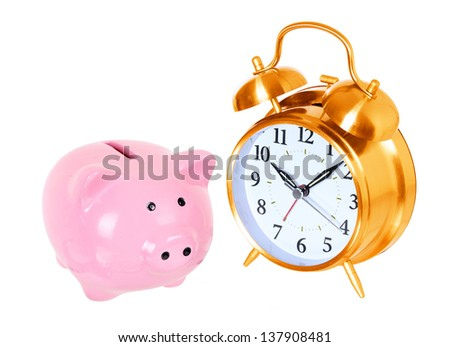 Piggy bank with alarm clock isolated on a white studio background . concept . style money box - stock photo