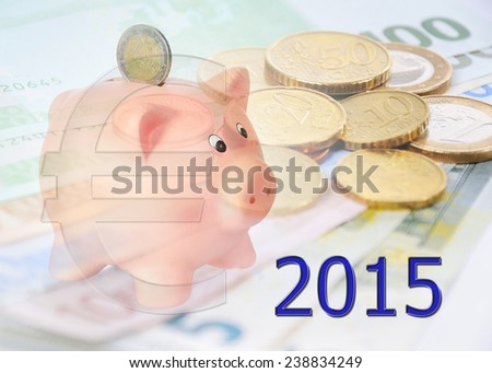 piggy bank with 2015 and euro symbol - stock photo