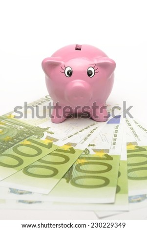 Piggy bank with banknote.