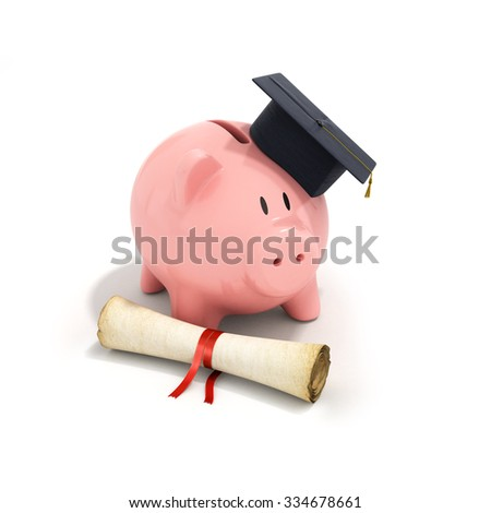 Piggy Bank with Black Graduation Hat and diploma tied with red ribbon  Isolated on White Background. - stock photo